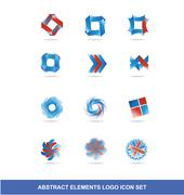 Corporate business blue red logo elements set Piirros