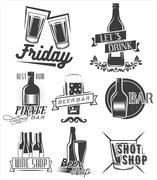 Friday is time to drink. Vector set of weekend party labels in vintage style. Stock Illustration