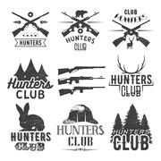 Vector set of hunting club labels in vintage style. Design elements, emblems Stock Illustration