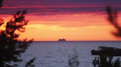 Beautiful summer sea red sunset from hill. One ship on water. Nobody Stock Footage