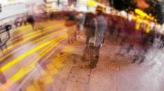 Abstract perspective camera view of people on street of Hong Kong at night - stock footage