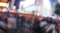 Asian city busy street rush conceptual background with blur camera effect - stock footage