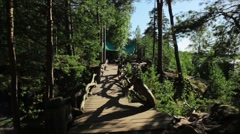 Wooden bridge and bar in forest at the coast. Summer. Sun beam. Slow motion Stock Footage