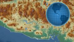 El Salvador and Globe. Relief Stock Footage