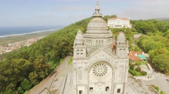 Travel Architecture Santa Luzia Church Portugal Drone Sanctuary Viana Do Castelo Stock Footage