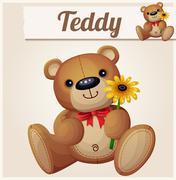 Teddy bear with yellow flower. Cartoon vector illustration. Series of childrens - stock illustration