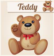 Teddy bear with red bow waves the paw - stock illustration