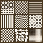 Stock Illustration of Set of 9 simple seamless monochrome patterns