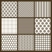 Set of 9 simple seamless monochrome patterns. Part 6 - stock illustration
