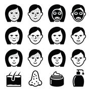 Skin problems - acne, spots treatment icons set - stock illustration