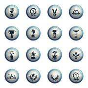 Medals and tropheys simply icons - stock illustration