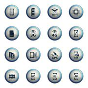 Smarthone specs simply icons Stock Illustration
