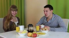 Young man made surprise for his girlfriend. He cooked her breakfast. Loving Stock Footage