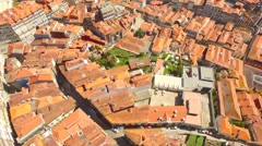 Aerial Footage Cityscape Roof Drone Dwelling City Porto Clerigos Church Baroque - stock footage