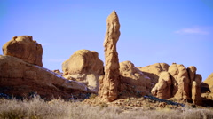 Red Rock Spire Pan Right Fast - stock footage
