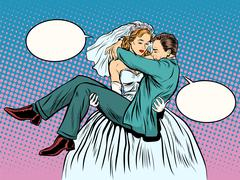 Wedding bride groom carries in her arms - stock illustration