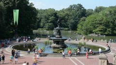 Timelapse Bethesda Fountain Terrace New York Central Park People Sunny Walk - stock footage