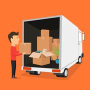 Stock Illustration of Moving with boxes. Things in box. Transport company