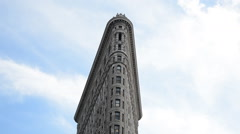 Timelapse Iconic Flatiron Building Clouds New York Closeup Historical Landmark Stock Footage