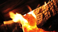 Flame activity on a hot fireplace - stock footage