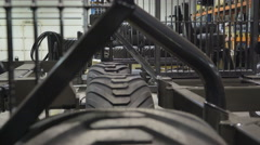 Three tires on the side of an equipment Stock Footage