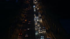 Time lapse traffic on the m62 motorway at night yorkshire united kingdom Stock Footage