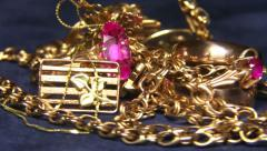 Gold jewelry, close-up Stock Footage