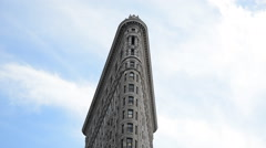 Famous Flatiron Building Detail New York Closeup Skyscraper Historical Landmark Stock Footage