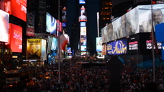 Timelapse Times Square New York Late Night People Tourist Advertising Manhattan  Stock Footage