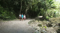 Family walks on the walkway in rainforest Stock Footage