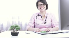 Cute Glasses woman doctor happy, laughing, consulting, happy mood  Stock Footage