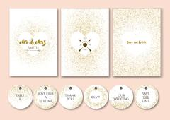 Wedding set cards and tags with abstract golden confetti backgrounds. - stock illustration