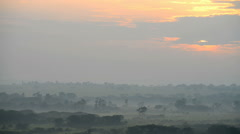 Savanna in a morning fog, Queen Elizabeth National Park, Uganda, Africa. - stock footage