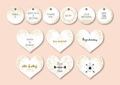 Wedding set  heart shape cards and tags with the abstract golden confetti bac - stock illustration