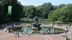 Bethesda Fountain Terrace New York Central Park Tourist Crowd People Sunny Walk - stock footage