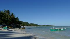 Catamaran Boats at the beach in Anda Stock Footage