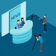 Professional Journalists At Studio Isometric Banner Stock Illustration