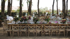 Decorations and serving the wedding table for guests Stock Footage