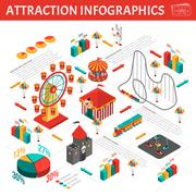 Amusement Park Attractions Infographic Isometric Composition - stock illustration