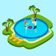 Swimming Pool Illustration - stock illustration