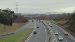 Traffic moving on the A720 - Edinburgh City Bypass, Scotland Stock Footage