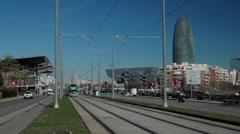 Barcelona tramway on avenida Meridiana Stock Footage