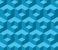 Blue cubic geometric seamless pattern Stock Illustration