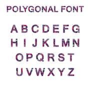 Polygon font alphabet purple pink color - stock illustration