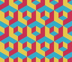 Retro colored cubic geometric seamless pattern - stock illustration