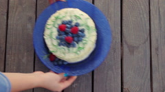 Sponge cake decorated with berries Stock Footage