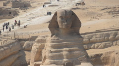 Time Lapse Zoom Out of the Sphinx Daytime at Giza - Egypt Stock Footage