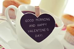 breakfast and text good morning and happy valentines day - stock photo