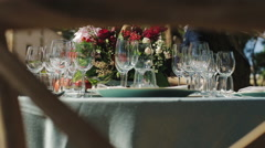 Decorations and Serving of a Wedding Banquet Stock Footage