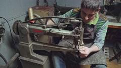 Shoemaker at work. Close up. Workshop Stock Footage